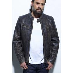 Vêtements Homme Vestes en cuir / synthétiques Daytona HURICAN COW ASPHALT BLACK Noir