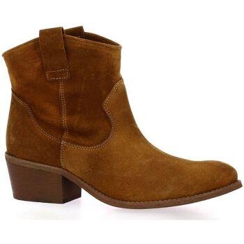 Chaussures Femme Boots Exit Boots cuir velours Cognac