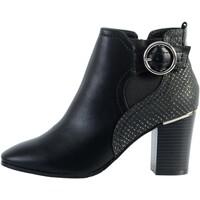 Chaussures Femme Bottines The Divine Factory Bottine Talon Bride/Boucle Noir