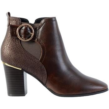 Chaussures Femme Bottines The Divine Factory Bottine Talon Bride/Boucle Marron Foncé