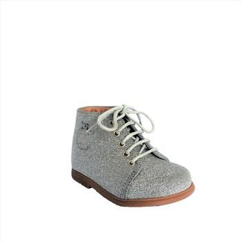 Chaussures Fille Bottines Pom d'Api Nioupi Primo Luxury argent