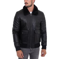 Vêtements Homme Vestes en cuir / synthétiques Monsieurmode Veste homme col fourré Veste 606-1 noir Noir