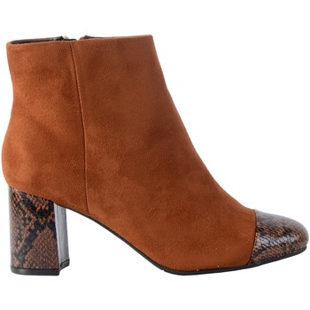 Chaussures Femme Bottines The Divine Factory Bottine Talon léopard S / Terre cuite