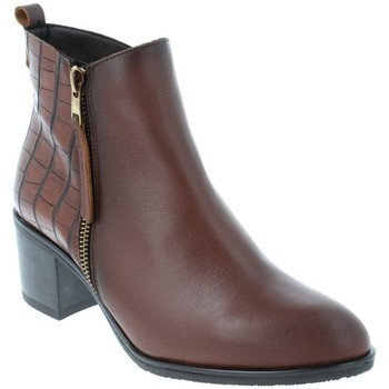 Chaussures Femme Bottines Amoa Bottines CHENEY Zip MARRON CROCO