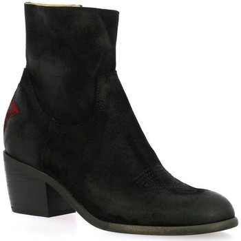 Chaussures Femme Bottines Ngy Boots cuir velours Noir