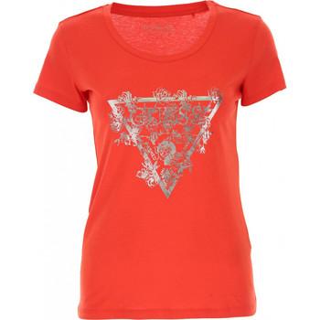 Vêtements Femme Polos manches courtes Guess T-shirt Femme FLOWERS W92I37 Rose Fuschia Rose