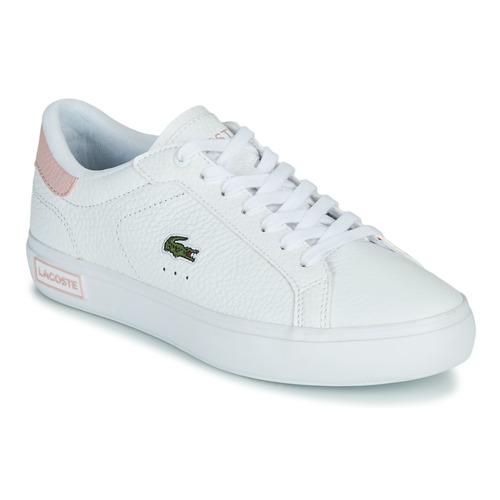 Chaussures Femme Baskets basses Lacoste POWERCOURT 0721 2 SFA Blanc / Rose