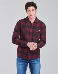 Vêtements Homme Chemises manches longues Dickies NEW SACRAMENTO SHIRT MAROON Bordeaux / Noir