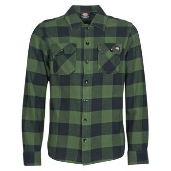 Vêtements Homme Chemises manches longues Dickies NEW SACRAMENTO SHIRT PINE GREEN Kaki / Noir