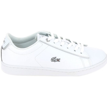 Chaussures Enfant Baskets basses Lacoste Carnaby Evo Jr Blanc Argent Blanc