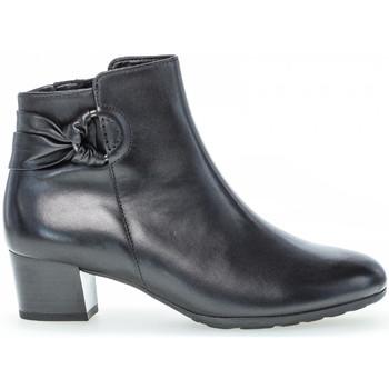 Chaussures Femme Bottines Gabor Bottines cuir lisse talon  bloc couches cuir/recouvert Noir