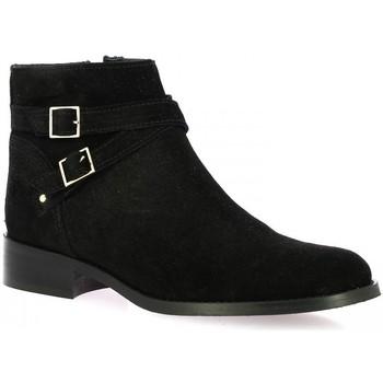 Chaussures Femme Bottines Impact Boots cuir velours Noir