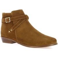 Chaussures Femme Bottines Impact Boots cuir velours Cognac