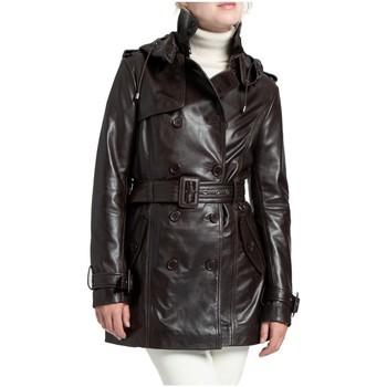Vêtements Femme Blousons Giorgio Cuirs Veste trench longueur 3/4 cuir Giorgio ref_50589 Chocolat marron