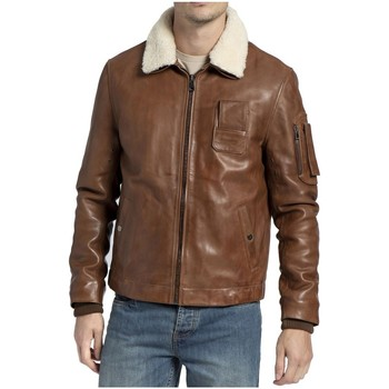 Vêtements Homme Blousons Giorgio Cuirs Blouson aviateur en cuir Howard Giorgio ref_50587 Cognac marron