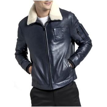 Vêtements Homme Blousons Giorgio Cuirs Blouson aviateur en cuir Howard Giorgio ref_50587 Marine bleu