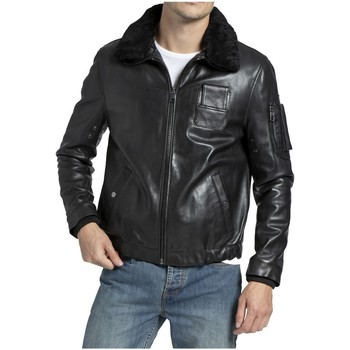 Vêtements Homme Blousons Giorgio Cuirs Blouson aviateur en cuir Howard Giorgio ref_50587 Noir noir