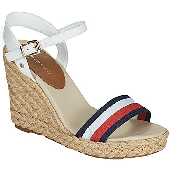 Chaussures Femme Sandales et Nu-pieds Tommy Hilfiger SHIMMERY RIBBON HIGH WEDGE Blanc