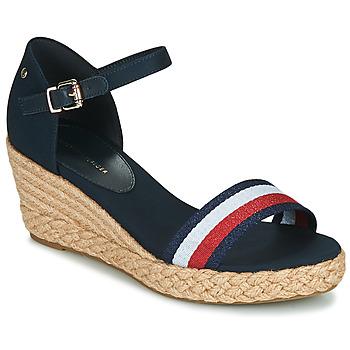 Chaussures Femme Sandales et Nu-pieds Tommy Hilfiger SHIMMERY RIBBON MID WEDGE SANDAL Marine