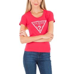 Vêtements Femme Polos manches courtes Guess T-shirt Femme w83I17 Rose Logo Paillette Rose