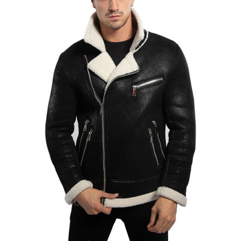 Vêtements Homme Blousons Monsieurmode Veste fashion col fourré Veste homme 551-1 noir Noir