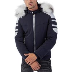 Vêtements Homme Doudounes Monsieurmode Doudoune à capuche fourrure Doudoune 6609 bleu marine Bleu