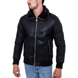 Vêtements Homme Blousons Monsieurmode Veste homme col fourré Veste 6623 noir Noir