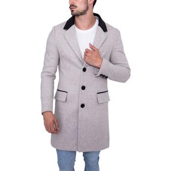 Vêtements Homme Manteaux Monsieurmode Veste caban long homme Veste 2088B-4 gris Gris
