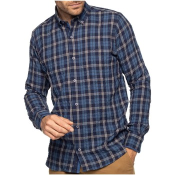 Vêtements Homme Chemises manches longues Shilton Chemise manches longues gaufrée à carreaux Bleu marine