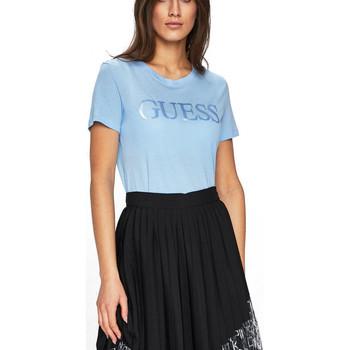 Vêtements Femme Polos manches courtes Guess T-Shirt Femme SATIN W91I45 Bleu Clair (rft) Bleu