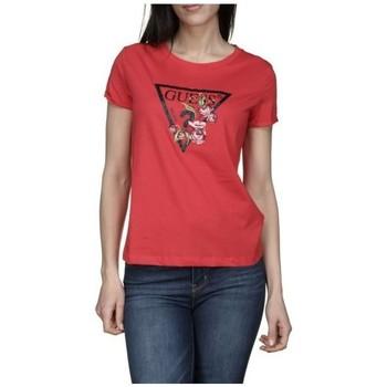 Vêtements Femme Polos manches courtes Guess T-shirt Femme FOLIAGE Rouge W92I67 (rft) Rouge