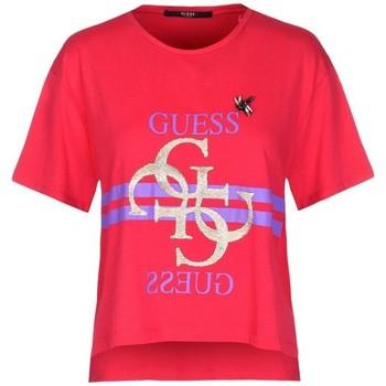 Vêtements Femme Polos manches courtes Guess T-Shirt Femme Iris W83I10 Rouge Fuschia (rft) Rouge