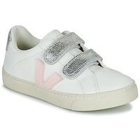 Chaussures Fille Baskets basses Veja SMALL ESPLAR VELCRO Blanc / Doré