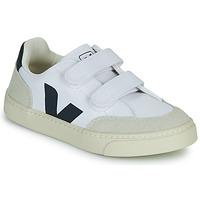 Chaussures Garçon Baskets basses Veja SMALL V-12 VELCRO Blanc / Bleu