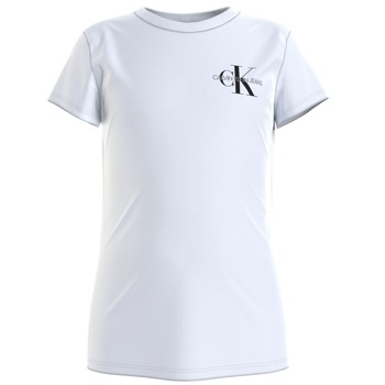 Vêtements Fille T-shirts manches courtes Calvin Klein Jeans CHEST MONOGRAM TOP Blanc