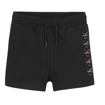 Vêtements Fille Shorts / Bermudas Calvin Klein Jeans CK REPEAT FOIL KNIT SHORTS Noir