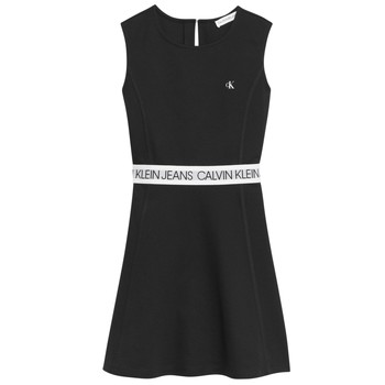 Vêtements Fille Robes courtes Calvin Klein Jeans LOGO TAPE PUNTO SLEEVELESS DRESS Noir