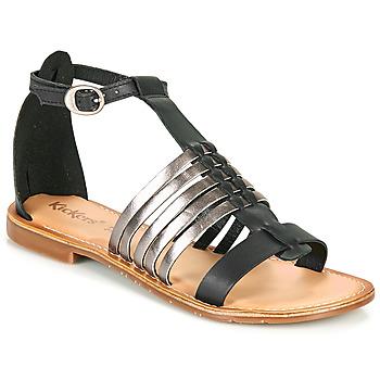 Chaussures Femme Sandales et Nu-pieds Kickers ETIKET Noir / Argent