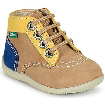 Chaussures Garçon Boots Kickers BONZIP-2 Beige / Jaune / Marine