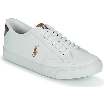 Chaussures Fille Baskets basses Polo Ralph Lauren THERON IV Blanc / Rose gold