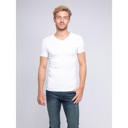 Vêtements Homme T-shirts manches courtes Ritchie T-shirt col V pur coton organique WORD Blanc