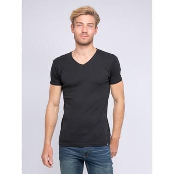 Vêtements Homme T-shirts manches courtes Ritchie T-shirt col V pur coton organique WORD Noir