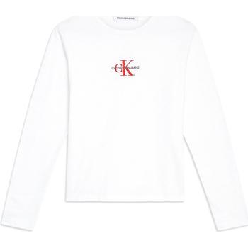 Vêtements Femme T-shirts manches longues Calvin Klein Jeans J20J211804 Blanc