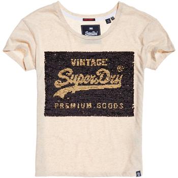 Vêtements Femme T-shirts manches courtes Superdry G10010MR Beige