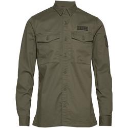 Vêtements Homme Chemises manches longues Superdry M4010023A Vert