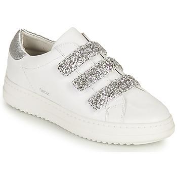 Chaussures Femme Baskets basses Geox D PONTOISE C Blanc / Argenté