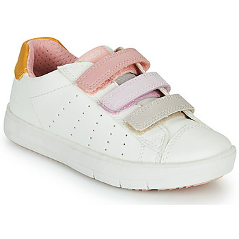 Chaussures Fille Baskets basses Geox SILENEX GIRL Blanc / Rose / Beige