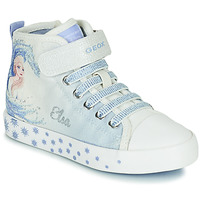 Chaussures Fille Baskets montantes Geox JR CIAK GIRL Blanc / Bleu