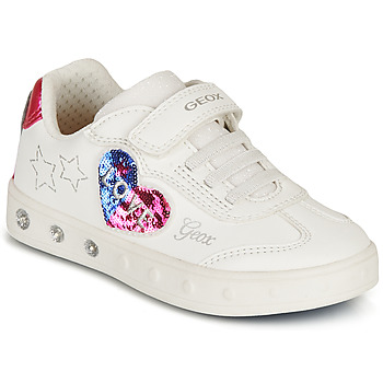 Chaussures Fille Baskets basses Geox J SKYLIN GIRL I Blanc / Noir / Rose