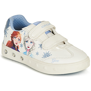 Chaussures Fille Baskets basses Geox SKYLIN GIRL Blanc / Bleu